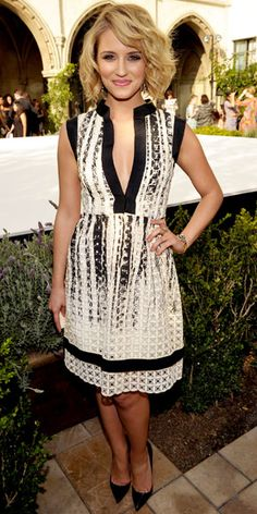 Dianna Agron  WHAT SHE WORE  Dianna Agron celebrated the CFDA Fashion Fund finalists at L.A.'s Chateau Marmont in a black-trimmed lace dress from Libertine.
