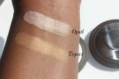 BECCA Shimmering Skin Perfector Pressed in Opal and Topaz swatches by @stylenbeautydoc