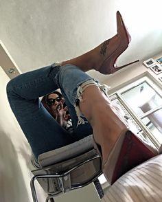 "My ""Schatzi"" doing Instagram ;-) #sokate #shoeshine #louboutinsokate #highheels #jeans #jeansheels #crushing #highheelstagram #shoeporn…"