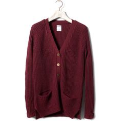 Pull & Bear Pearl Stitch Cardigan ($15) ❤ liked on Polyvore featuring tops, cardigans, outerwear, sweaters, knitwear, purple cardigan, purple top and pull&bear