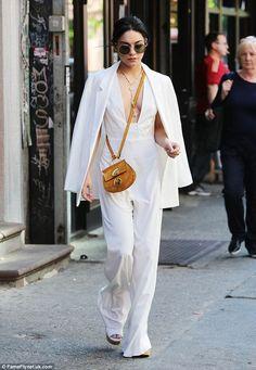 Vanessa Hudgens.. ASOS Slim Jacket, AQ/AQ Collate Jumpsuit, Chloe Faye Mini Bag, and Wildfox Dakota Sunglasses..