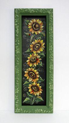 Bumble Bees and Sunflowers Framed Art Green Vine Framed