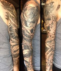 60 Phoenix Tattoo Designs For Men - A 1,400 Year Old Bird Phoenix Tattoo Sleeve, Black Sleeve Tattoo, Full Sleeve Tattoo Design, Arm Sleeve Tattoos, Tattoo Sleeves, Tribal Tattoos, Trendy Tattoos, Popular Tattoos, New Tattoos