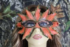 Leather autumn leaf mask for glasses