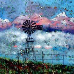 Painting by Michele Nigrini, from Rosendal, South Africa African Colors, South African Artists, Love Art, Mixed Media Art, Tourism, Things To Come, Colours, Windmills, Afrikaans