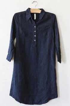 Indigo linen shirt dress, love the length and how it would look over black pants and over jeans