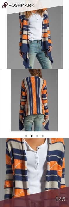 Brand new with tags BB Dakota belicia cardigan NWT BB Dakota belicia tribal pattern cardigan in midi blue. Sold out on revolve clothing. Size small. Adorable drapey cardigan in navy, orange, and tan BB Dakota Sweaters Cardigans
