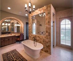 Walk Through Shower And Exquisite Mirror Details Master Bathroom Plans Floor