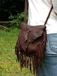 Dark Chocolate Deerskin Leather Fringed Bag by SoulLeatherStudio