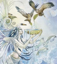 Aquarius ---The Water Bearer. Independence and personal freedom, eccentric, caring about universal ideals and ways to improve the world. Seekers of knowledge for its own sake and to pass it along.