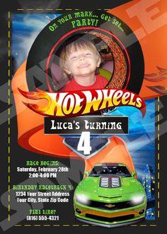 Hotwheels Party Invitations Hot Wheels birthday