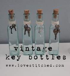 Vintage key glass bottle {{tutorial}}  Combine with photo bottle idea