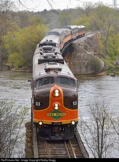 The Iowa Pacific E-units and business train depart Janesville on the return trip to Chicago.