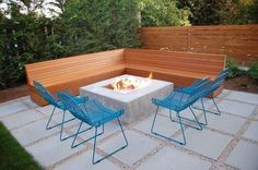Modern concrete patio designs patio modern with blue outdoor table woodwork concrete pavers