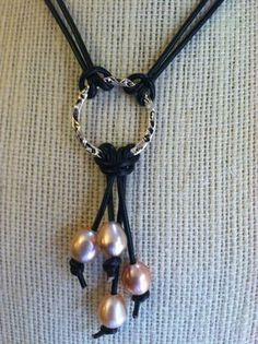 Freshwater Pearl and Leather Necklace by ArtisanJewels