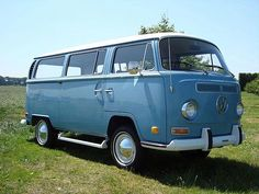 """My first VW Bus was a white over blue 1970 like this one. There would be two more -- all """"previously owned"""". This was also the start of having two cars."""