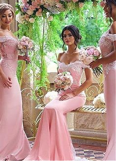 Buy discount Graceful Stretch Charmeuse Off-the-shoulder Neckline Mermaid Bridesmaid Dresses With Lace Appliques at Dressilyme.com