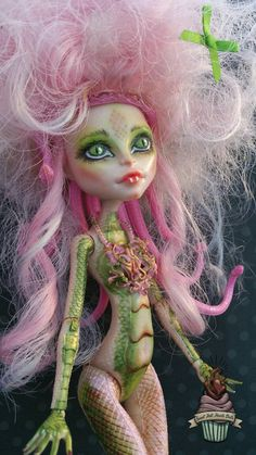 Jellyfish. Viperine Gorgon repaint. Monster high doll custom. Monster high doll…