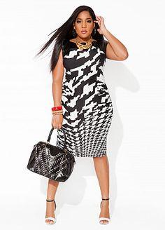 4baf15fe515ac Ashley Stewart Houndstooth dress LOOVE this fabric!