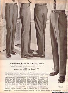 Mens Fashion Style – The World of Mens Fashion Mode Vintage, Vintage Men, Jean Miro, Suit Fashion, Mens Fashion, 1950s Fashion Menswear, Men Trousers, Men's Pants, Designer Suits For Men