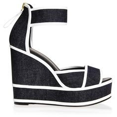 Pierre Hardy Graphic Denim Wedges ($835) ❤ liked on Polyvore featuring shoes, heels, wedges, navy, wedge heel shoes, pierre hardy, polish shoes, navy blue high heel shoes and shiny shoes