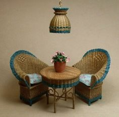 Looks like good quality stuff, mostly wicker. Uncle Ciggie's Miniatures, Handcrafted dollhouse miniature wicker furniture