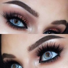 Brown and Copper Smokey Eye Look for Blue Eyes
