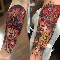 Tatuagem criada por Denis Vazios de Vila Velha.  Mulheres no estilo neo tradicional.  #tattoo #tattoo2me #tatuagem #neotradicional #art #arte #colorida