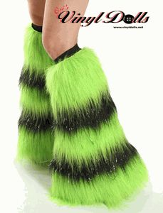 Striped Fluffies - Glitter UV Lime Green and Black