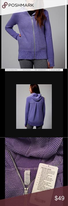 Ivivva by Lululemon Just Cozy Jacket Worn once, in perfect condition.  Power purple.  Cute, great quality hoodie with thumb holes.  Pet and smoke free home. Ivivva Jackets & Coats