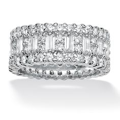 4.80 TCW Emerald-Cut Cubic Zirconia Platinum Over Sterling Silver Eternity Band Ring