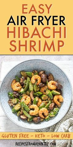 Air Fryer Hibachi Shrimp Dinner is a delicious restaurant-quality Japanese meal that is SO quick & easy to make. This air fried shrimp hibachi and veggies is super versatile; serve it as is for a low carb meal or with 5-Minute Yum Yum Sauce. You're gonna LOVE how easy it is to cook shrimp hibachi in the air fryer. click to learn how to make hibachi shrimp at home! #airfryer #airfryerrecipes #airfriedhibachishrimp #airfryerhibachishrimp #shrimp #japanesefood #hibachi #shrimprecipes #airfryerhrimp Grilled Shrimp Recipes, Shrimp Recipes For Dinner, Air Fryer Dinner Recipes, Potluck Recipes, Seafood Recipes, Seafood Dinner, Meal Recipes, Family Recipes, Summer Recipes