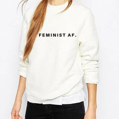 Feminist AF White & Black Quote Sweatshirt. SIZE Small: 34- 36 Chest Medium: 38-40 Chest Large: 42-44 Chest X Large: 46- 48 Chest MATERIAL: Heavy Blend Cotton  PAYMENT  You can pay by Paypal or use your card and pay using direct Checkout. DELIVERY  All T-shirts are securely packaged to ensure quality. SHIPPING  UK Shipping 2-4 days  Europe 5-7 days  USA/Canada 10 days  Rest of World 10-12 days  *Additional Information*  These garments are printed within my family business.  * Unless ...