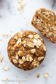 Gluten Free Banana Oat Muffins (V+GF): an easy recipe for warm, moist and lightly sweet Banana Oat Muffins made simple ingredients. Vegan and Gluten Free.