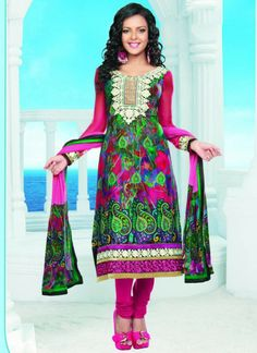 Fab Pink Printed Cotton Churidar Suit