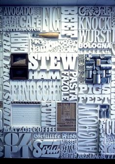 1400 letters by Lou Dorfsman w/ Herb Lubalin for 60s CBS cafeteria wall via @thinkstudionyc