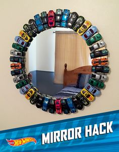 What little boy wouldn't love to have a mirror lined with toy cars in his room! Boy's bedroom Make-Over…Hot Wheels Style!