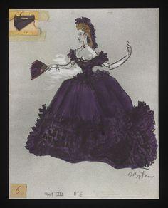 Costume designs by Cecil Beaton for the Metropolitan Opera's 1966 production of Verdi's La traviata Broadway Costumes, Theatre Costumes, Ballet Costumes, Movie Costumes, Abandoned Castles, Abandoned Mansions, Abandoned Places, Costume Design Sketch, Fashion Sketches