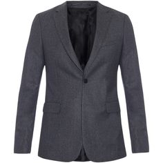Givenchy Single-breasted houndstooth wool suit (€405) ❤ liked on Polyvore featuring men's fashion, men's clothing, men's suits, grey, mens wool suits, givenchy mens clothing, mens grey suit, mens slim fit suits and mens slim suits