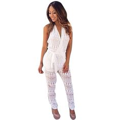 820114fb855 Free Shipping Sexy Women Crochet Halter Backless Jumpsuit Romper Playsuit  White Party Hot Sale KK Y Buy from china Free Shipping Sexy Women Crochet  Halter ...