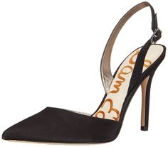 Sam Edelman Women's Dora Dress Pump. D'Orsay pump in leather featuring adjustable buckled slingback and pointed toe.