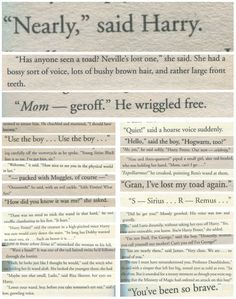 Harry Potter characters' first lines of dialogue.