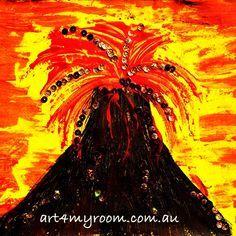 Volcano - Natural Disasters - paint - art for children and teachers - full lesson plan on website Easy Art For Kids, Art Lessons For Kids, Primary School Art, Art School, Hawaiian Art, Painting Videos, Preschool Art, Art Club, Art Plastique