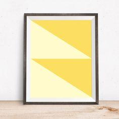 Modern Geometric Wall Poster Yellow Wall Poster by OjuDesign