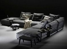 : Luxury modern sectional sofa bed in black -  I have no idea how much, where to buy it but like it!