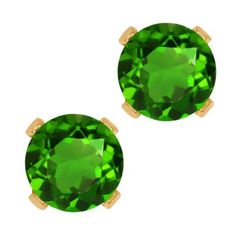 1.00 Ct Round Green Chrome Diopside 10K Yellow Gold 4-prong Stud Earrings 5mm Gem Stone King. $54.99. This item is proudly custom made in the USA. This Item Contains 100% Natural Stones. Save 75%!