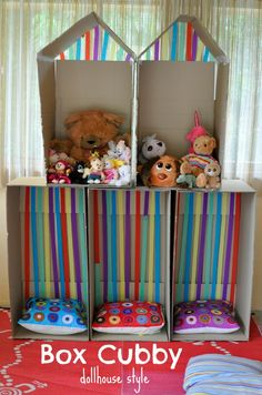 box cubby - dollhouse style - great Summer holiday project