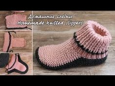 Free Knitting Pattern for Two Needle Socks - Garter stitch socks knit flat and seamed. Designed by Katerina Mushyn. Available in English and Russian. Knit Slippers Free Pattern, Crochet Slipper Pattern, Knitted Slippers, Slipper Socks, Knitting Socks, Knitting Needles, Free Knitting, Baby Knitting, Knitting Wool