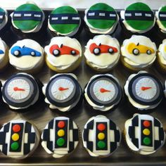 car / race car themed birthday cupcakes. fondant toppers: road strip, race cars, speed gage, and stoplight