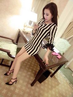 Korean Dress Striped Korean Fashion Dress, Korean Dress, Fashion Dresses, Striped Dress, Dresses With Sleeves, Long Sleeve, Fashion Show Dresses, Striped Dress Outfit, Trendy Dresses